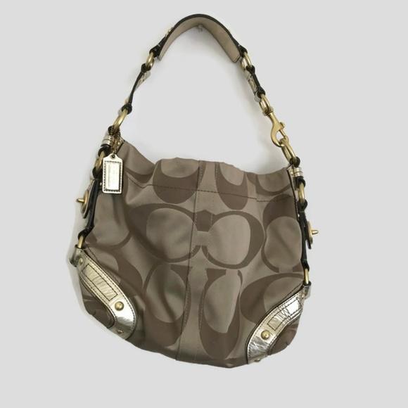 249ac7c95f5 Coach Bags   Carly Optic Canvas Khaki Gold Hobo 13008 Bag   Poshmark